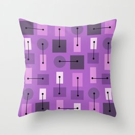 Atomic Age Simple Shapes Purple Throw Pillow