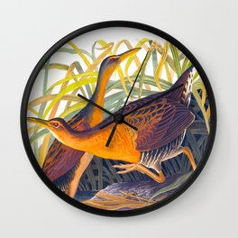 Great Red Breasted Rail John James Audubon Scientific Birds Of America Illustration Wall Clock