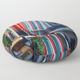 Colorful French Quarter Row Homes Floor Pillow