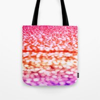 glitter Tote Bags featuring Sunset Glitter Sparkles by Whimsy Romance & Fun