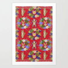 Khokhloma Forest Animals Art Print