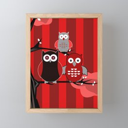 Red Owls Framed Mini Art Print