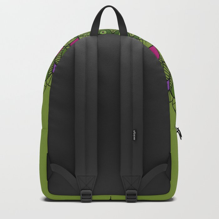 Bohemian Mandala in Green with Pink and Purple Backpack
