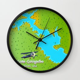 lake livingston Texas map Wall Clock
