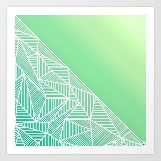 B Rays Geo Gradient Green Art Print