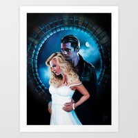true blood Art Prints featuring True Blood - Sookie & Eric by Jaime Gervais