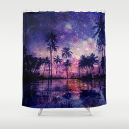 Paradise in Space Shower Curtain