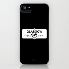 Glasgow Scotland GPS Coordinates Map Artwork with Compass iPhone Case