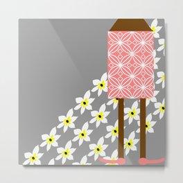 island girl on daisies Metal Print