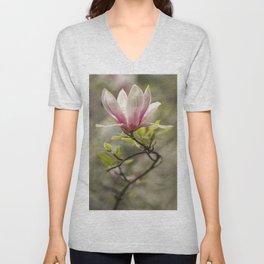 Blooming pink magnolia Unisex V-Neck
