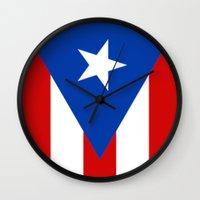 puerto rico Wall Clocks featuring Puerto Rico by McGrathDesigns