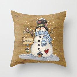 Folk Art Snowman Christmas Throw Pillow