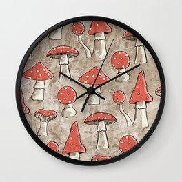 Spotty Fungi Pattern Wall Clock