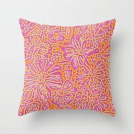 Marigold Lino Cut, Batik Pink And Orange Throw Pillow