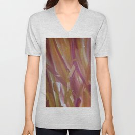 Red coloured abstract acrylic painting Unisex V-Neck