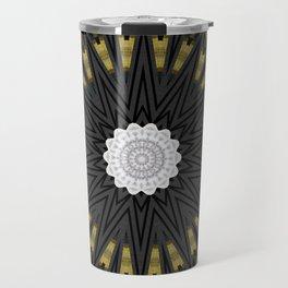 Dark Black Gold & White Marble Mandala Travel Mug
