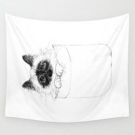 Puss in Pocket (B&W) Wall Tapestry