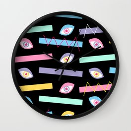 Black Teichopsia Eyes Wall Clock