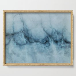 Blue marble abstraction Serving Tray