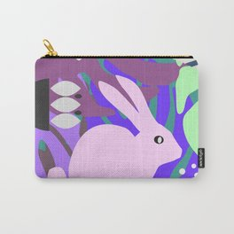 Rabbit and monstera leaves in purple Carry-All Pouch