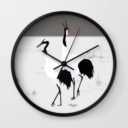 Red crowned Crane Wall Clock