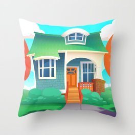 Fun Cartoon House Throw Pillow
