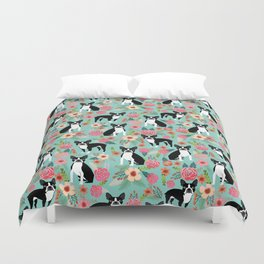 Boston Terrier floral dog breed pet art must have boston terriers gifts Duvet Cover