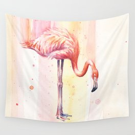 Pink Flamingo Watercolor Bird Animals Whimsical Animal Wall Tapestry