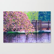Bridge and Cherry Tree at Crystal Springs Rhododendron Garden, Portland Canvas Print
