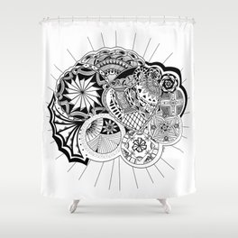 Planets aligned in Love Shower Curtain