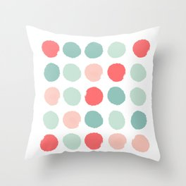 Dots painted coral minimal mint teal bright southern charleston decor colors Throw Pillow