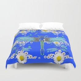 BLUE DRAGONFLIES WHITE DAISY FLOWERS  ART Duvet Cover