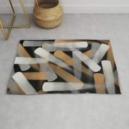 Paint Brush Strokes in Gold, Silver and White Rug