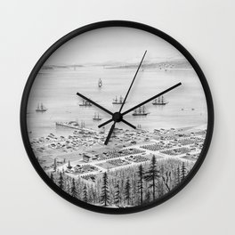 Vintage Pictorial Map of Port Townsend WA (1878) Wall Clock