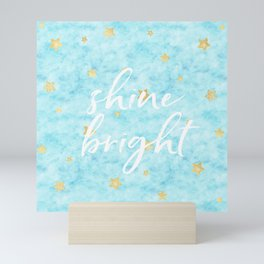 Gold Sky Blue Watercolor Stars Shine Bright Mini Art Print