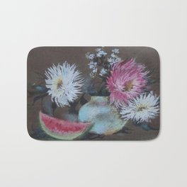 Asters and Watermelon Slice. Bouquet. Still-Life Bath Mat