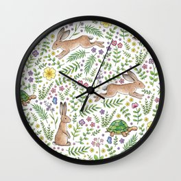 Spring Time Tortoises and Hares Wall Clock
