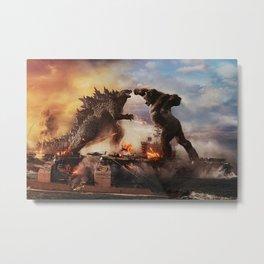 Godzilla vs King Kong Moster Fight Movies Art Print Decor Home Poster Metal Print
