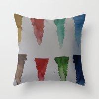 watercolour Throw Pillows featuring Watercolour by Crimson-daisies