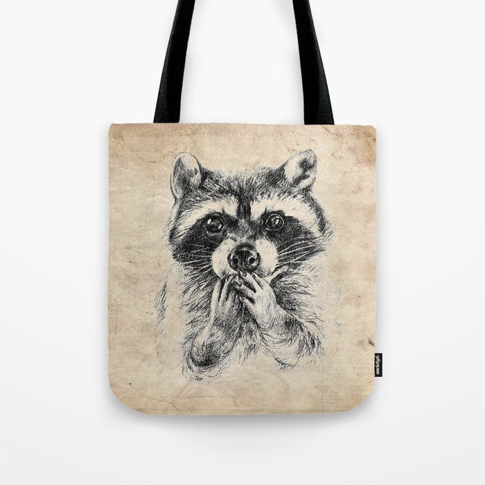 Surprised raccoon Tote Bag