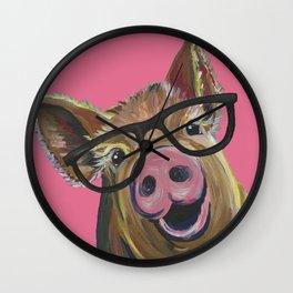 Pink Pig Painting, Cute Farm Animal Wall Clock