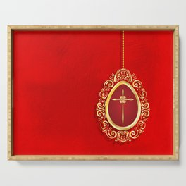 Beautiful red egg with gold cross on rich vibrant texture Serving Tray