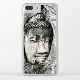 Buddha head entwined in Banyan tree roots. Clear iPhone Case