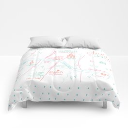 Austin, Texas Illustrated Calligraphy Map Comforters