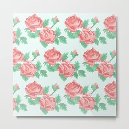 Cute Cross Stitch Roses on Blue Background Metal Print