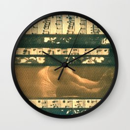 The Melody of Ballet Dance, collage, blue print, cyanotype print, wall art, wall decor Wall Clock