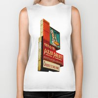 pizza Biker Tanks featuring Pizza by Hazel Bellhop