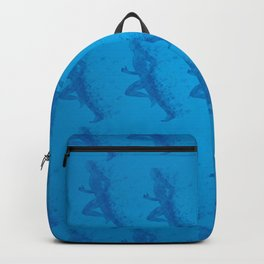 Watercolor running man silhouette background in blue color pattern Backpack