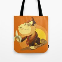 donkey kong Tote Bags featuring Kong by Rod Perich