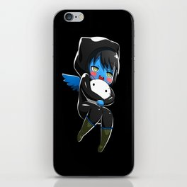 Fuzzy Chibi Luc (Expression 1) w/ Black Background iPhone Skin